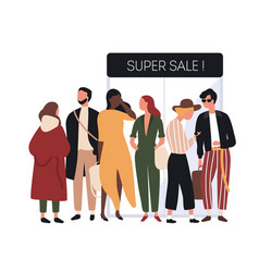 people dressed in fashionable clothes standing in vector image