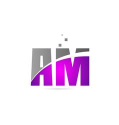 Pink grey alphabet letter combination am a m vector