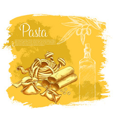poster of pasta for italian cuisine vector image