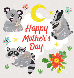 poster with koala raccoon and badger vector image