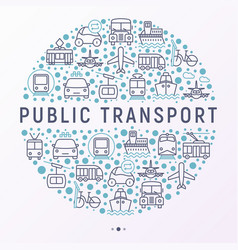Public transport concept in circle vector