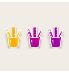 realistic design element stationery tools vector image
