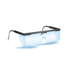 Realistic detailed 3d plastic safety blue glasses vector