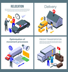 Relocation banner set isometric style vector