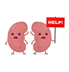 Sad unhealthy sick kidneys vector