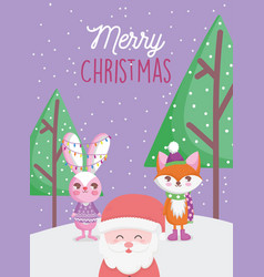 santa fox and rabbit lights trees snow merry vector image