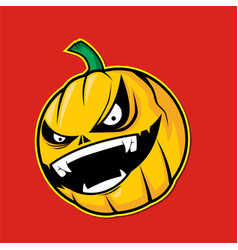 Scary pumpkin head on red background vector
