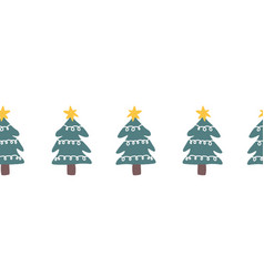 seamless christmas doodle tree border hand vector image