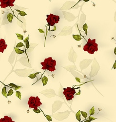 seamless floral pattern with red roses on light vector image