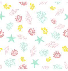 Seamless pattern with coral vector
