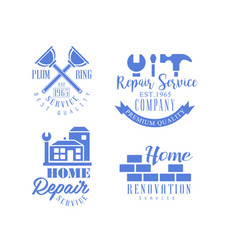 Set of monochrome emblems for repair services vector