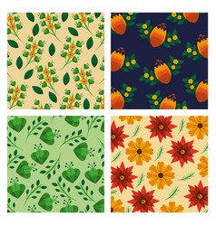 set of pattern flowers floral decoration wallpaper vector image