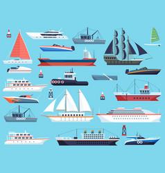 Ships in harbor shipping speedboating cruiser vector