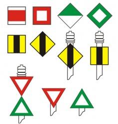 Signs river navigation vector