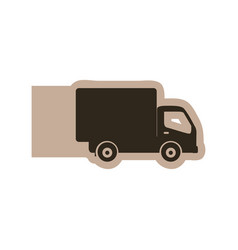 silhouette emblem delivery car icon vector image