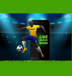 Soccer player with field stadium background and vector