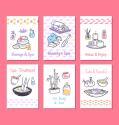 spa treatment cards background design vector image