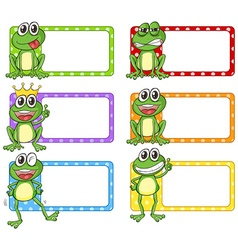 Square label with green frogs vector