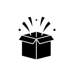 Surprise in box black icon sign on vector
