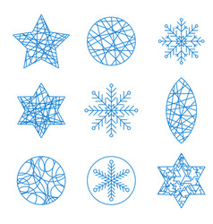 thin line christmas design element set vector image