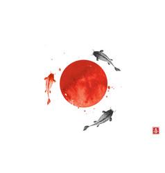 Three big koi carps and big red sun symbol vector