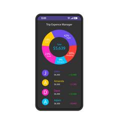 Travel budget tracker smartphone interface vector