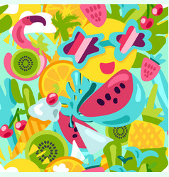 tropical summer pattern bright fruits and berries vector image