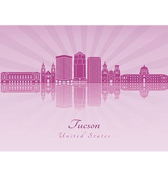Tucson V2 skyline in purple radiant orchid vector image
