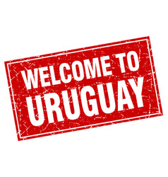 Uruguay red square grunge welcome to stamp vector