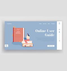 Users manual brochure faq website landing page vector