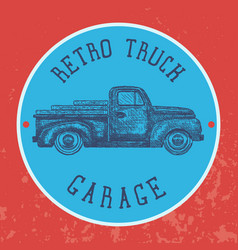 Vintage garage background old retro pick-up truck vector
