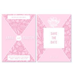 wedding invitation card with pink celandine vector image
