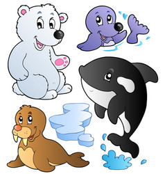 Wintertime animals collection 1 vector
