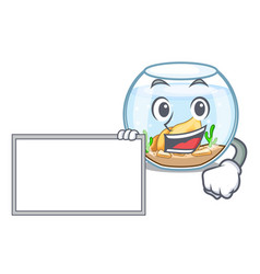 with board cartoon goldfish a in on fishbowl vector image