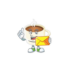 With envelope character cup coffee in cartoon vector