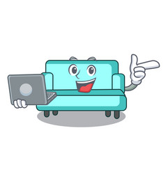 With laptop sofa character cartoon style vector