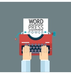 Word power mass media symbol press hand typewriter vector