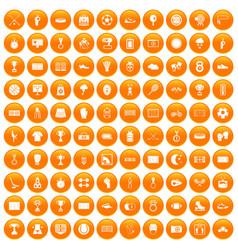 100 stadium icons set orange vector image vector image