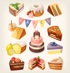 Cakes and pies vector image vector image