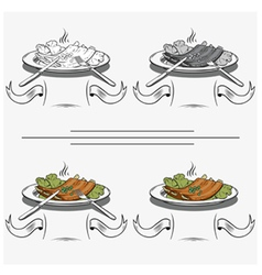 cooked ribs on the grill vector image vector image