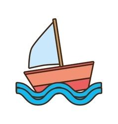 Sailing ship travel beach tourism vector
