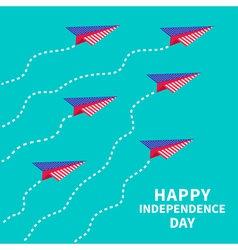 Six paper planes with dash line Happy independence vector image vector image