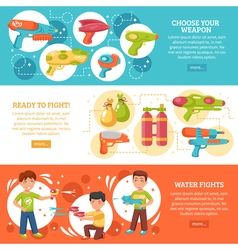 Water Fights Banners Set vector image vector image