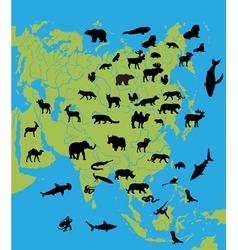 Animals on the map of Asia vector image vector image