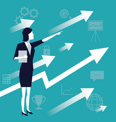 color background with executive woman and arrow vector image vector image