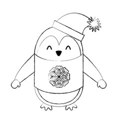 Line icon christmas penguin cartoon vector