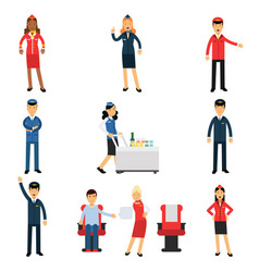 pilot and stewardess at work during the flight set vector image