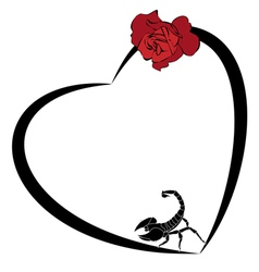 valentine frame with rose and scorpion vector image vector image