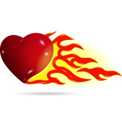 Heart on fire vector image vector image