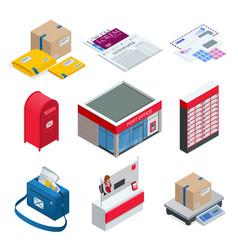 isometric set of post office postman envelope vector image